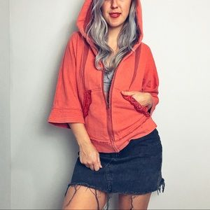 FreePeople Pink + Lace Two Tone Hoodie